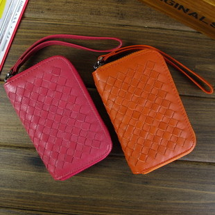 Ms Qian change sheepskin leather female short paragraph Korean mobile phone money money lovely hand