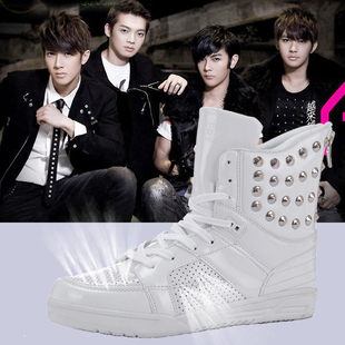 KO 3 high top shoes within the Wang Dadong rivet spring and summer Korean men breathable high top shoes increased M