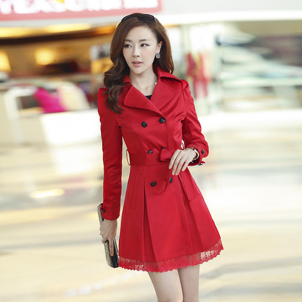 2014 весной новые женщины Тренч Пальто корейской версии тонкий двойной грудью длинный тонкий кружевной воротник с длинным рукавом пальто