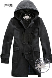 M double breasted wool coat jacket casual fashion urban youth hooded black dark gray 211 427 035
