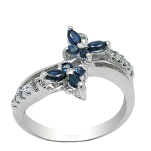 Your phil crown new A092 reputation treasures 925 silver and natural sapphire ring