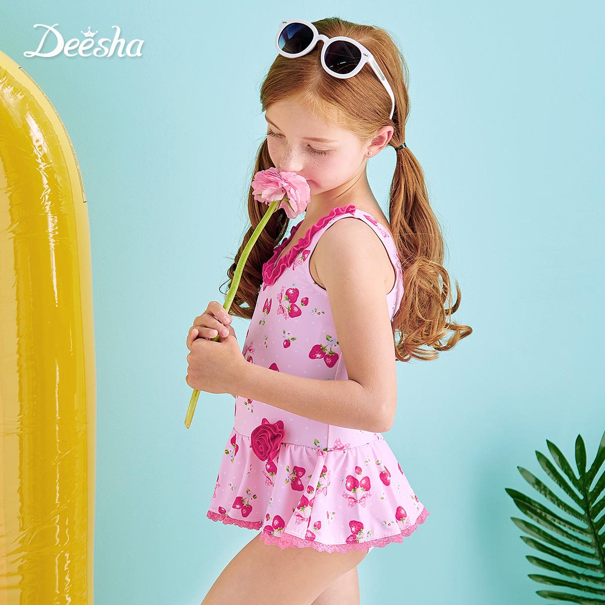 Флейта крахмал саго ребятишки девочки купальный костюм 2016 новый летний ребенок милый печать мода ребенок сиамский купальный костюм