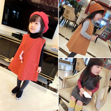 Qiu dong han edition 2015 baby girls children temperament in the tweed vest skirt tweed vest dress