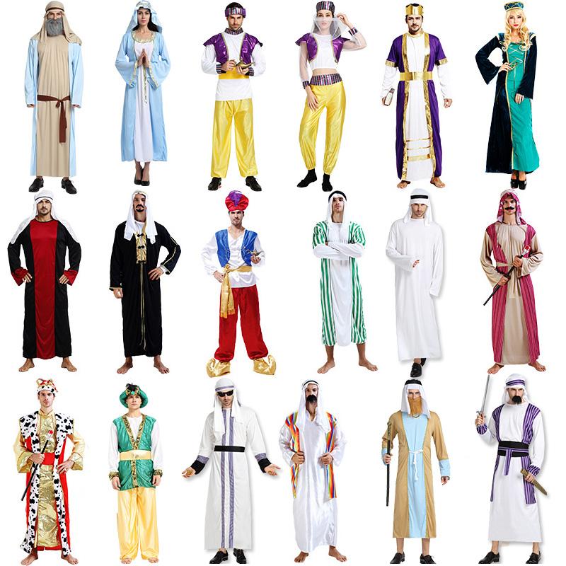 万圣节服装阿拉伯长袍成人男女cos化妆舞会中东迪拜衣牧羊人服饰