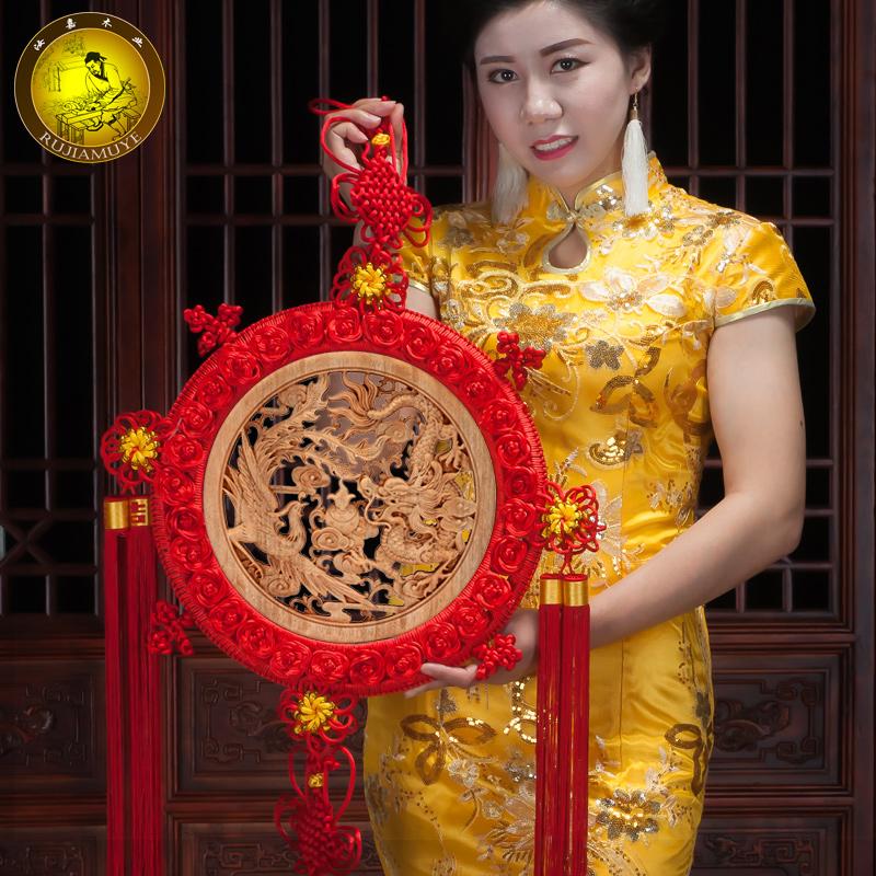 東陽木雕掛件中國結客廳掛件香樟木圓形福字壁掛飾雕刻擺件工藝品