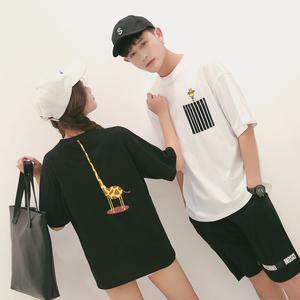 实拍9673情侣长颈鹿印花短袖T恤衫 男女班服