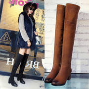 Rough winter leather women boots high heel high boots knee boots brush off Brown boots leather boots biker boots