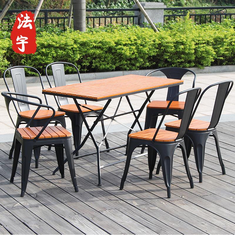 星巴克咖啡店户外桌椅组合五件套庭院防腐木阳台家具室外折叠桌椅