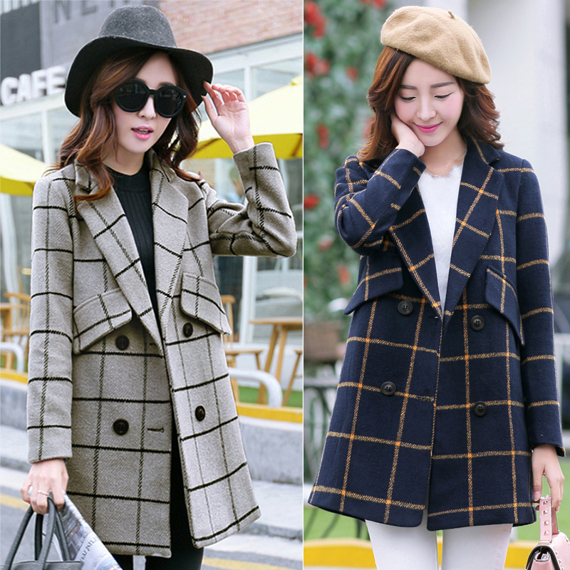 2015 осень Длинные шерстяные пальто женский вариант нового элитного стильный лацкане двойной пряжкой свободно плед пальто женщин