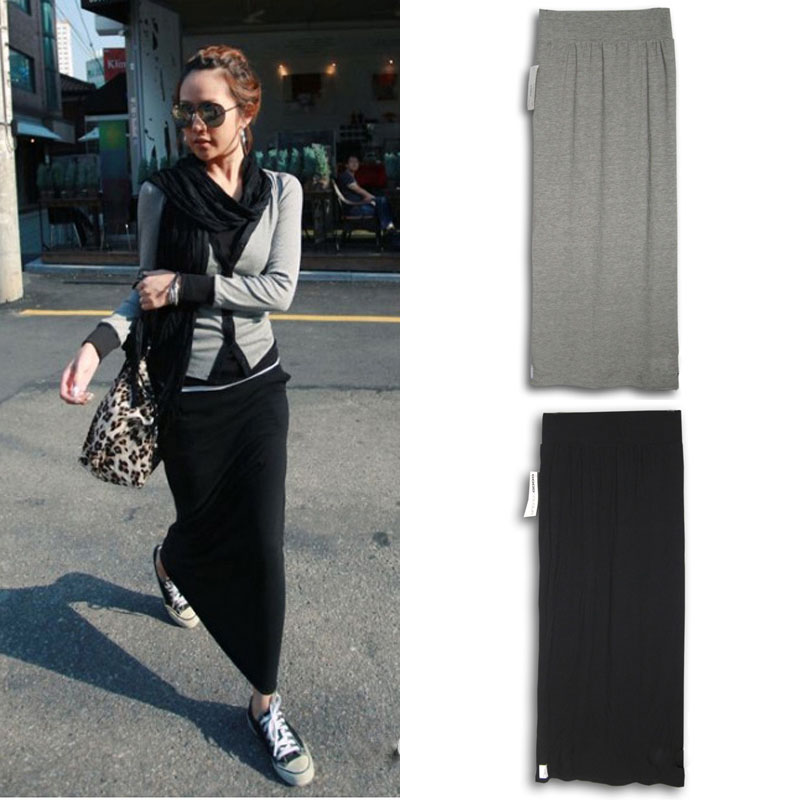 Half length skirt womens summer one step dress solid color modal half length skirt thin high waist straight tube skirt split buttock skirt autumn