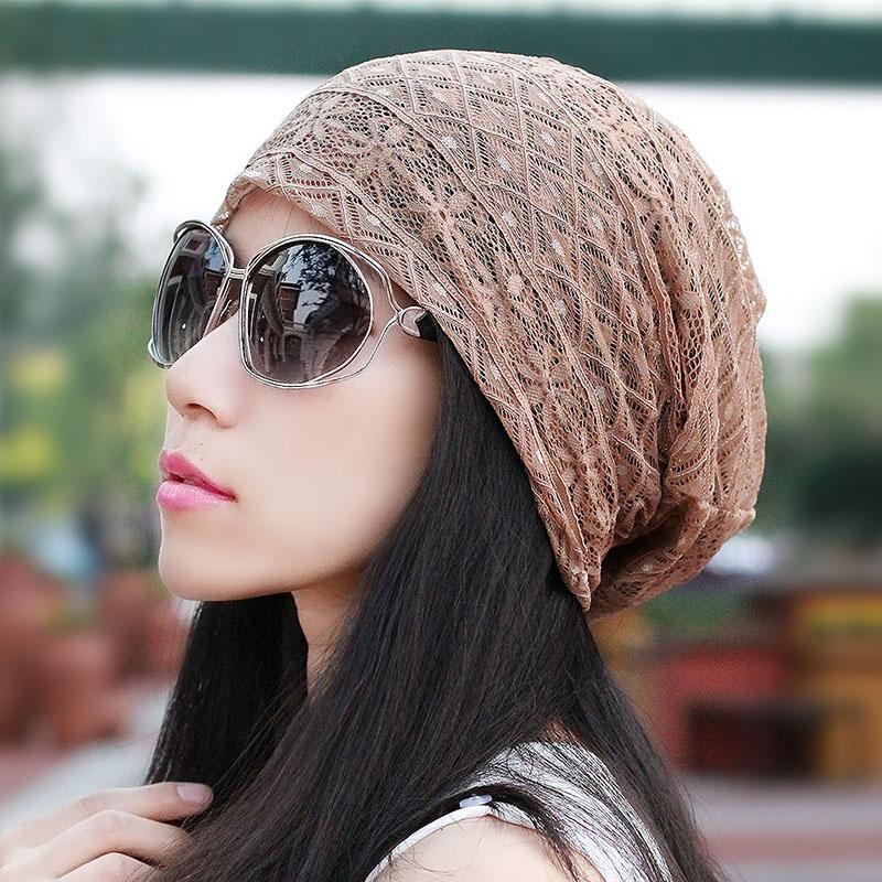 帽子女超薄鏤空蕾絲頭巾帽女士透氣網眼帽 空調睡帽防塵堆堆帽