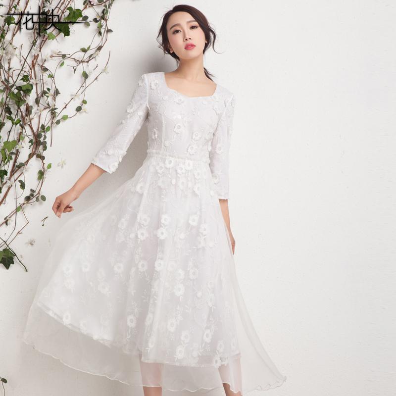 花中央春夏新品裙子欧根纱刺绣花钻石领长款七分袖大摆连衣裙