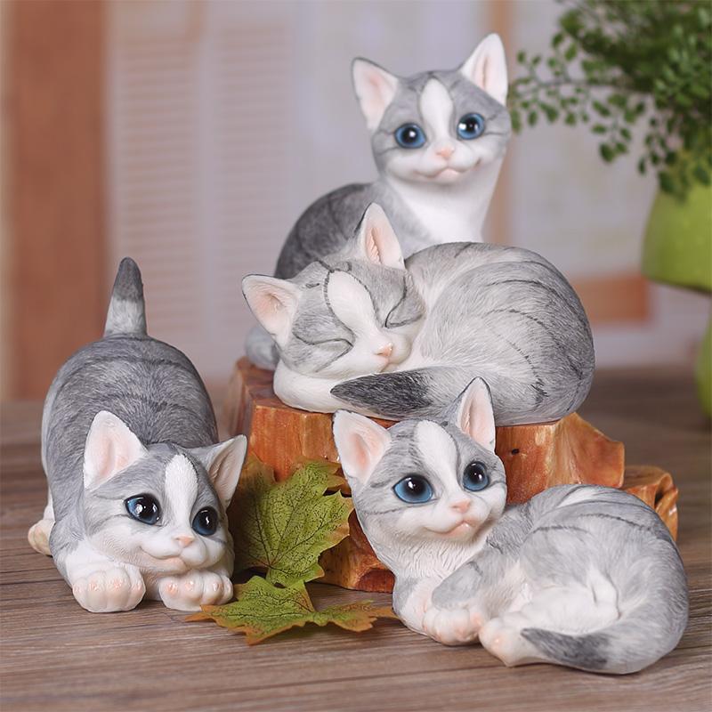 仿真貓咪家居裝飾品擺飾  樹脂動物工藝品擺設可愛小擺件