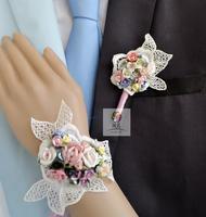 Имя ветра ручная работа копия Настоящий цветок свадебное цветок новый Ланг бутоньерка винтаж Керамический цветок розово пурпурный (цена за 1шт)