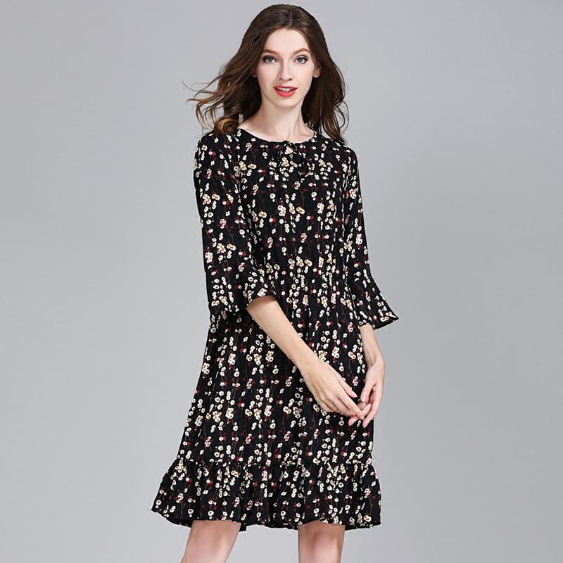 衣路芬芳中袖遮肚子荷叶边连衣裙减龄短袖夏装女装大码女胖mm