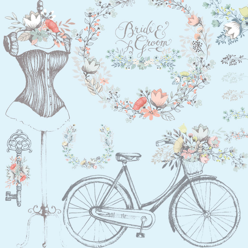 Bicycle retro HD wedding garland bicycle hand drawn PNG Buckle FREE EPS template AI vector design material