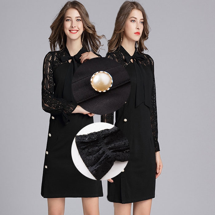 Spring and autumn loose new high-grade horn sleeve binding lead business leisure oversized obese womens slim dress