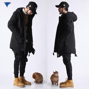 冬季新款 原创黑色燕尾中长款男士连帽战地风衣工装外套 加厚棉衣