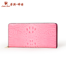 Rouse, handsome woman's purse long boom crocodile grain leather zipper with zero wallet wallet wallet lady's purse