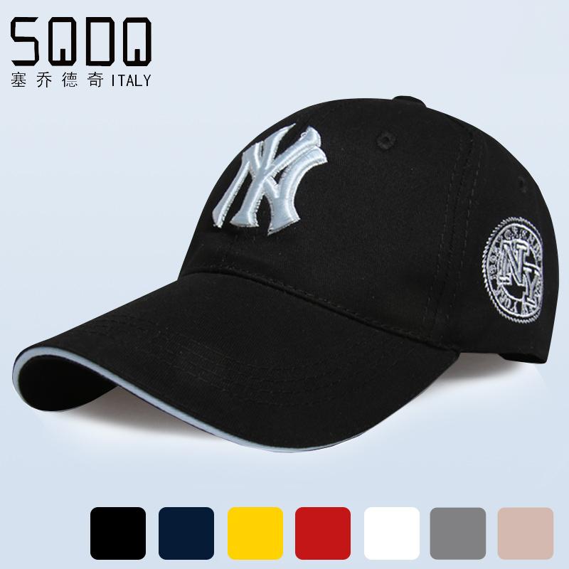 塞喬德奇 春棒球帽潮女黑色鴨舌帽 遮陽帽 帽 NY男士帽子