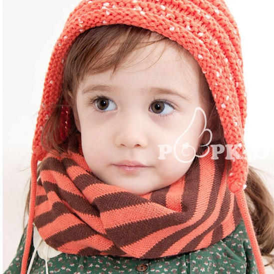 Imported from South Korea genuine autumn and winter baby striped bib for boys and girls scarf warm neck cover