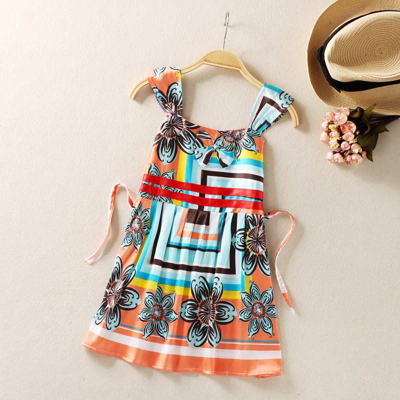 Детская одежда летом шелковицы шелковые девушки шелка платье жилет юбка ребенка принцесса платье, платья для маленьких девочек
