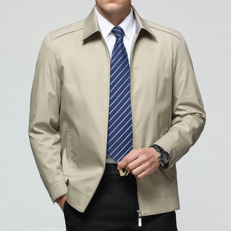 春秋正品中老年男士夹克衫商务男装休闲翻领纯棉外套薄款爸爸装