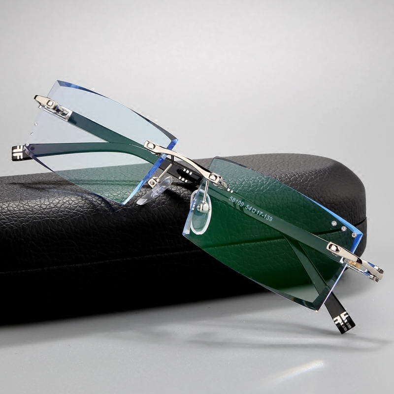 Equipped with finished myopia spectacle frame, male, Korean trimming spectacles, frameless spectacle frame, ultra light color changing spectacle frame, flat light
