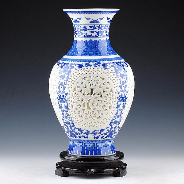 景德镇陶瓷器 象牙薄胎镂空青花瓷花瓶 现代时尚家居客厅装饰摆件