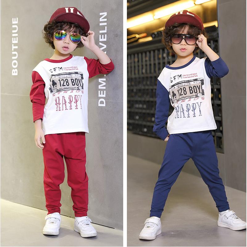 Одежда детская одежда весны новые костюмы ребенка мальчик корейских детей в Одежда свитер мальчика набор весной и осенью приливов