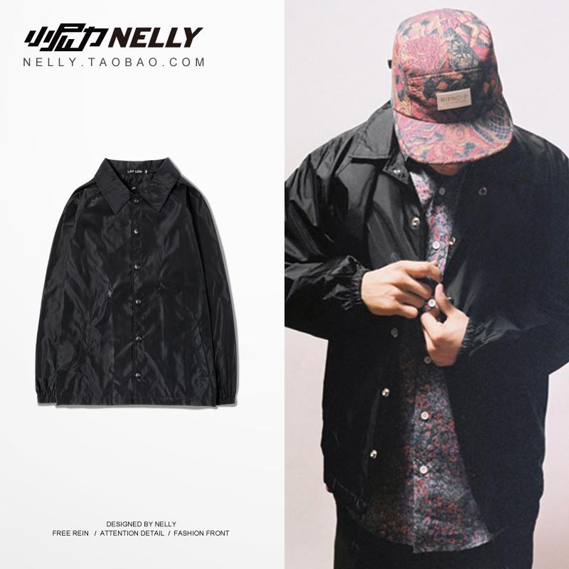 日本潮牌 純黑素色印花 街頭滑板 男女款 教練夾克 翻領風衣外套