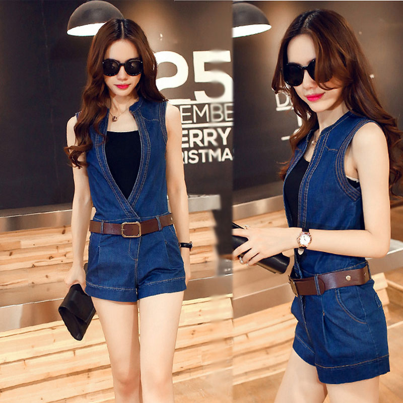 Spring and summer new Korean version of large and thin student denim Jumpsuit womens slim fit and versatile sleeveless Jumpsuit shorts