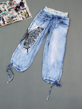 Foreign trade the original single women's jeans female elastic waist summer wear thin, loose 7 minutes of pants with defective goods 027 women's wear