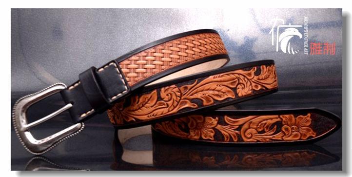 唐草皮雕植鞣革头层牛皮腰带 手工制作皮带 手作定制皮带