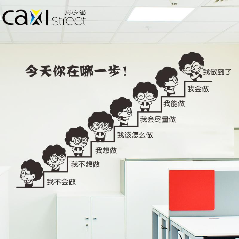 勵誌激勵團隊 辦公室班級標語成功階梯牆貼今天你在哪一步牆貼