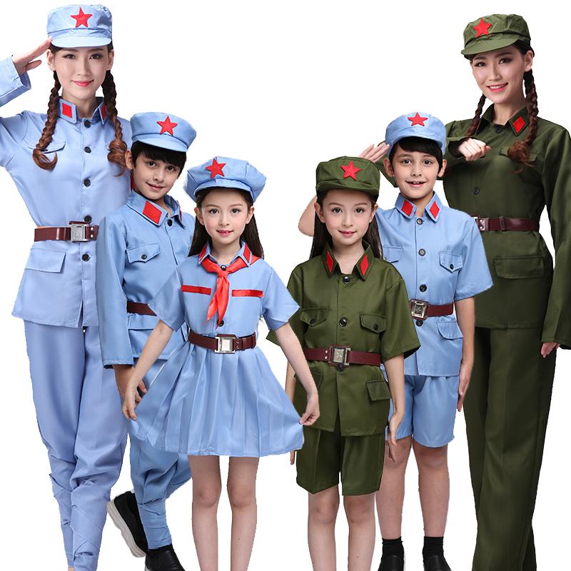 成人兒童紅軍演出服軍裝表演服八路軍衣服解放抗戰軍服紅衛兵服裝