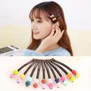 Know Connie hair accessories Korean version of the Candy-colored double semi-circular square fashion acrylic jelly bean clip Barrette clip