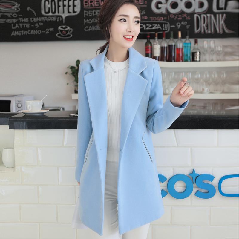 Г-жа человек na осенью 2015 года собирает новые корейские шерсти пальто slim женщин плюс размер длинное пальто шерстяной ткани