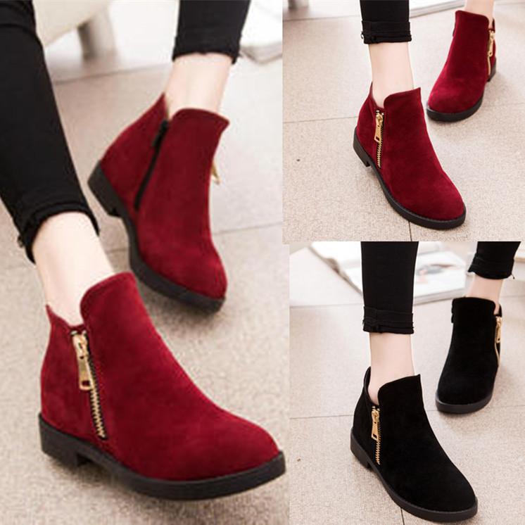 Простые Корейский осенью 2015 женщин короткие сапоги плоские сапоги моды обувь женская случайные зимние сапоги хлопок сапоги, Европе Мартин сапоги