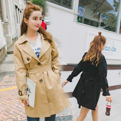 【实拍现货】F47二色韩版纯色百搭中长款风衣 黑色P95