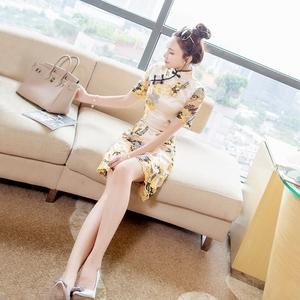 中国风名媛2017新款复古少女蕾丝刺绣短款修身改良<span class=H>旗袍</span>连衣裙夏季