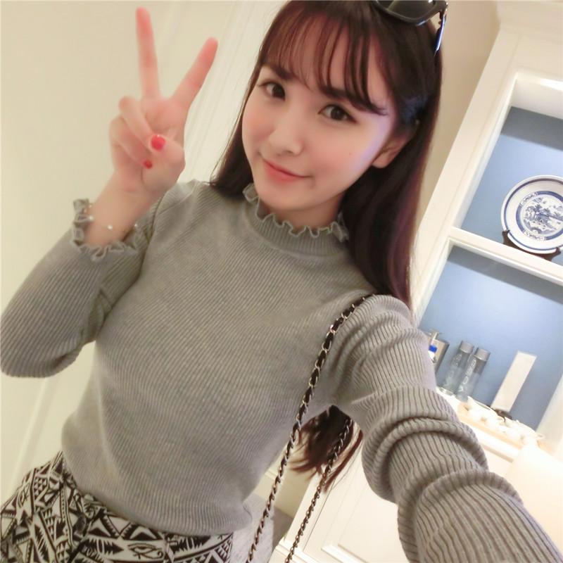 2015 новый Женская одежда на осень/зима высокой шеи головы slim тонкий дна рубашки женщин с длинным рукавом свитера свитера женщин