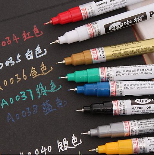 包邮150油漆笔手机补漆笔SIPA金银白黑红黄绿蓝色0.7绘画模型上色