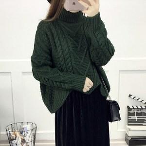 高领毛衣女套头秋冬季新款韩版宽松短款蝙蝠袖粗毛线上衣外套加厚