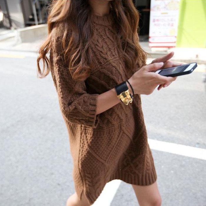 2014 новой корейской версии Европы в осенний и зимний ветер твист diamond решетки вязать платье толстые утолщенные вязать свитер
