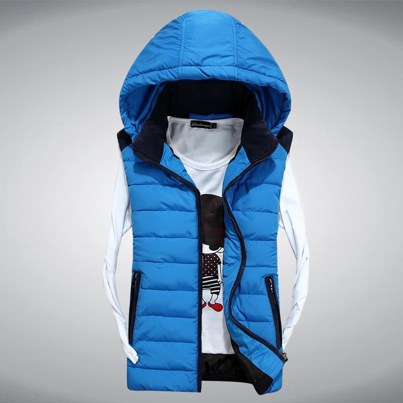 Весна и осень и зима моды осень/зима новый стиль тонкий мужской хлопка жилет с капюшоном случайных куртки съемный пара хлопка жилет