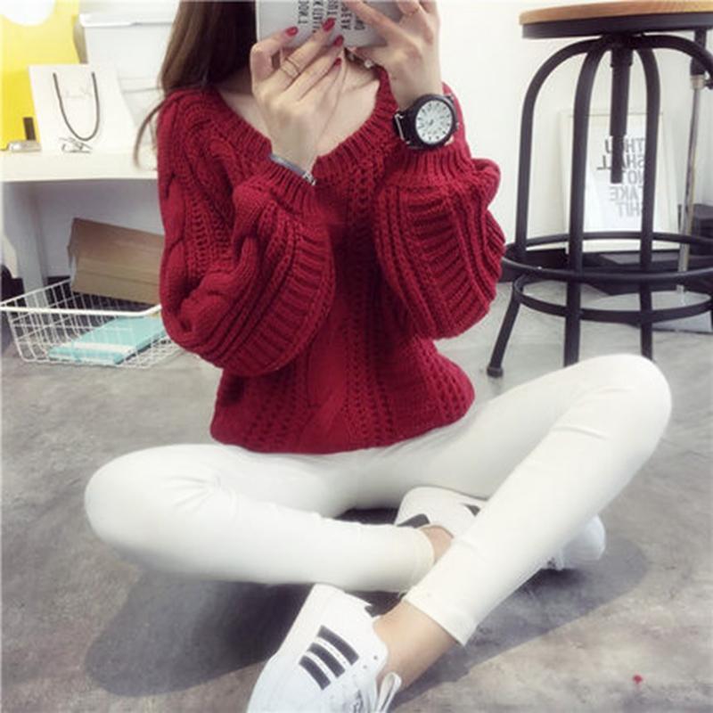 Свитер свитер женщина установить свободно свитер Корейский студент кабеля свитер фонарь рукав короткий слоеного рукав, tide