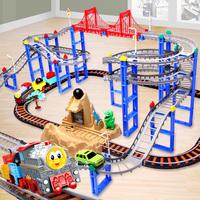Стоять рассвет томас маленький поезд электрический трек ребенок игрушка автомобиль четыре трек машину подлинный набор комбинации