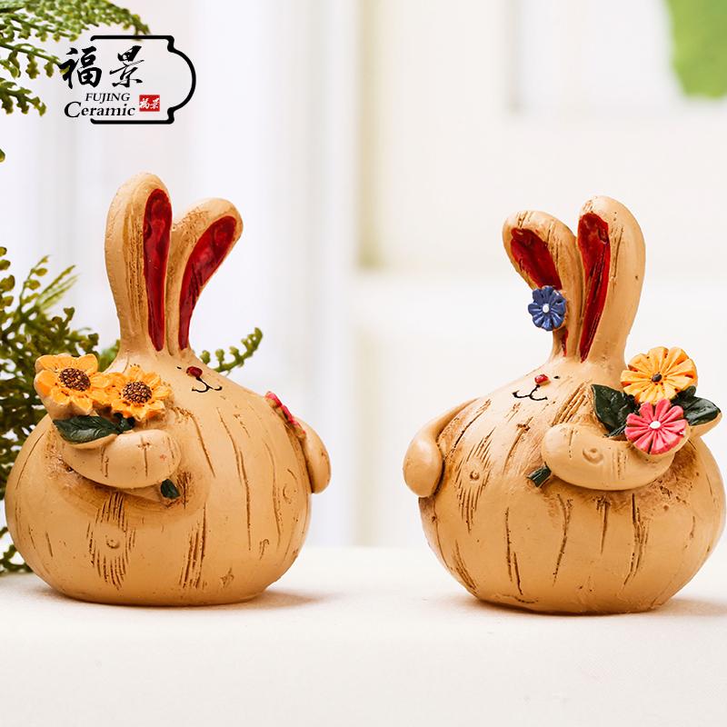 客廳擺件複古擺設可愛家居裝飾品 工藝品家飾 樹脂胖兔子一對