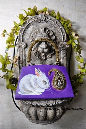 vintage rabbit hand painted
